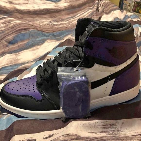 uk availability 36f98 22b1b jordan 1s court purple NWT